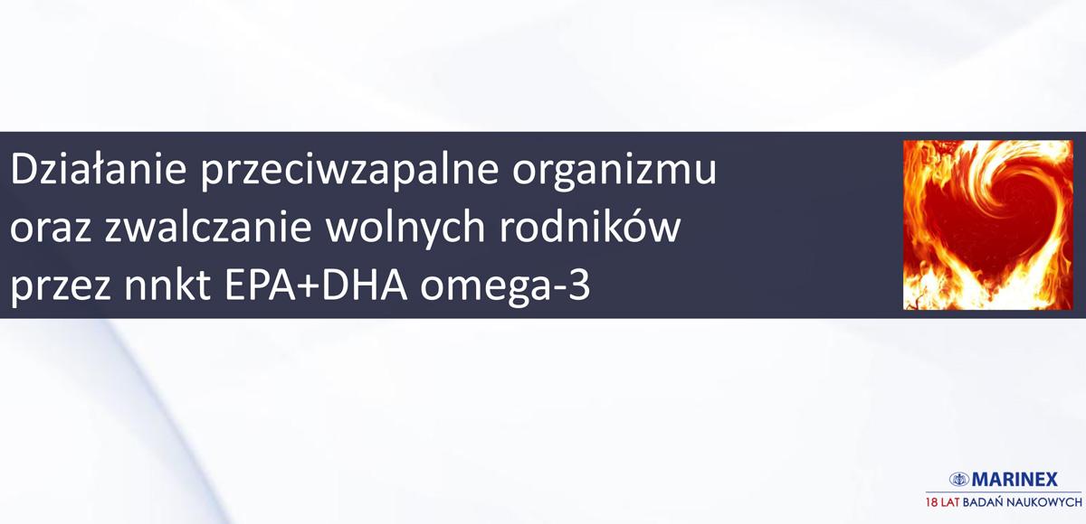 Mechanizmy przeciwzapalnego działania organizmu wykorzystującego kwasy tłuszczowe omega-3 orazkliniczna skuteczność terapii kwasami EPA + DHA omega-3.
