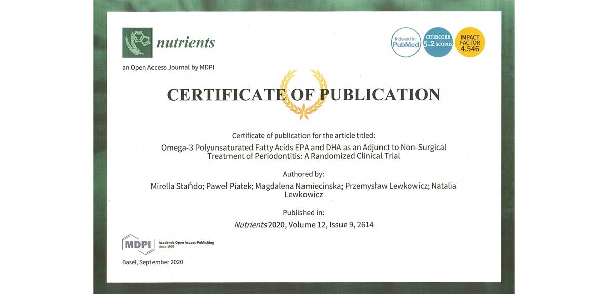 Publikacja wyników 40-go badania zzastosowaniem BioMarine<sup>®</sup>Medical wprestiżowym czasopiśmie naukowym Nutrients.